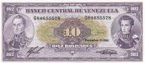 Venezuela 10 Bolivares,  Simon Bolivar - Antonio Jose de Sucre - 1988