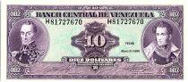 Venezuela 10 Bolivares,  Simon Bolivar - Antonio Jose de Sucre - 1990