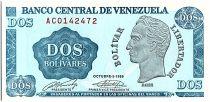 Venezuela 2 Bolivares, Simon Bolivar - Armoiries 1989