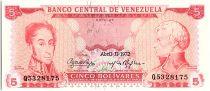 Venezuela 5 Bolivares Simon Bolivar - F de Miranda - 1972