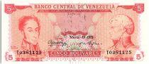 Venezuela 5 Bolivares Simon Bolivar - F de Miranda - 1973