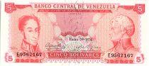 Venezuela 5 Bolivares Simon Bolivar - F de Miranda - 1974