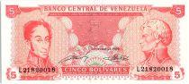 Venezuela 5 Bolivares Simon Bolivar - F de Miranda - 1989