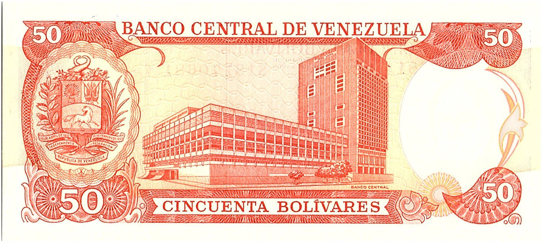 Venezuela 50 Bolivares,  Andres Bello - Banque central- 1992