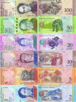 Venezuela Lot 6 billets 2, 5, 10, 20, 50 et 100 bolivares