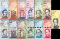 Venezuela Serial of 13 notes  - 2007 à 2017 - 500 to 100000 bolivares