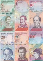 Venezuela Serial of 6 notes  - 2018  - 2 to 100 bolivares