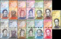 Venezuela Série de 13 billets  - 2007 à 2017 - 500 à 100000 bolivares