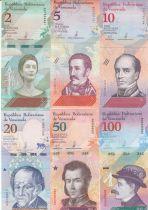 Venezuela Série de 6 billets  - 2018  - 2 à 100 bolivares