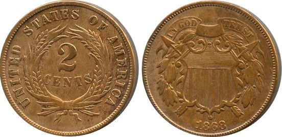 Münze Usa 2 Cents Arms