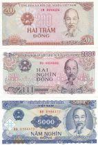 Viet Nam Set of 3 banknotes  -  Ho Chi Minh - 1987-1991