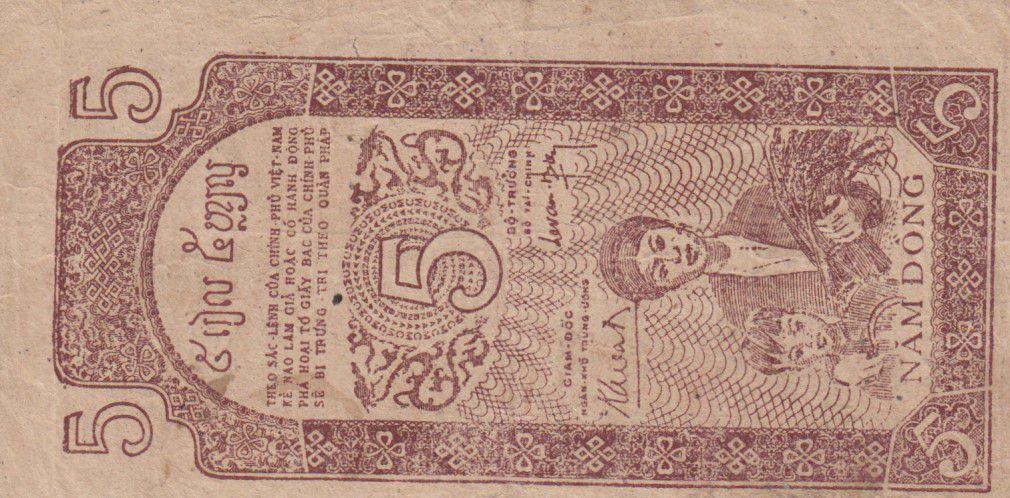 Vietnam 5 Dong Ho Chi Minh - 1947 - P.10a  Série LE 019