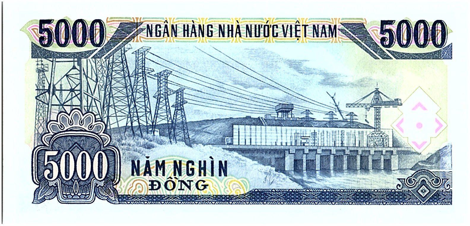 Vietnam 5000 Dong, Ho Chi Minh - Barrage  - 1991 - P.108