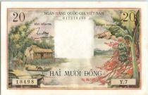 Vietnam du Sud 20 Dong  - Hutte, barques et bananier - 1956