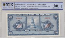 Vietnam du Sud 500 Dong Pagode - 1955 - Spécimen -P.10s2 PCGS 66 OPQ