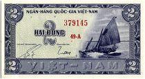 Vietnam South 2 Dong,  Boat - River scene - 1955 - P.12 a - Alp 49 A