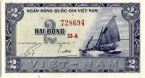 Vietnam South 2 Dong,  Boat - River scene - 1955 - P.12 a - Alp 53 A
