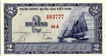 Vietnam South 2 Dong,  Boat - River scene - 1955 - P.12 a - Alp 65 A