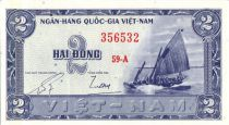 Vietnam South 2 Dong,  Boat - River scene - 1955 - P.12 a