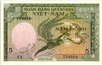 Vietnam South 5 Dong , Stylized Bird - Water buffalo - 1955 - P.2 a - F4