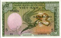 Vietnam South 5 Dong , Stylized Bird - Water buffalo - 1955 - P.2 a - O1