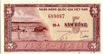 Vietnam South 5 Dong, Water Buffalo - House - 1955 - P.13 - Alp 90A