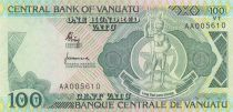 Wanuatu 100 Vatu 1982 - Melanesian local chief, cows - Prefix AA