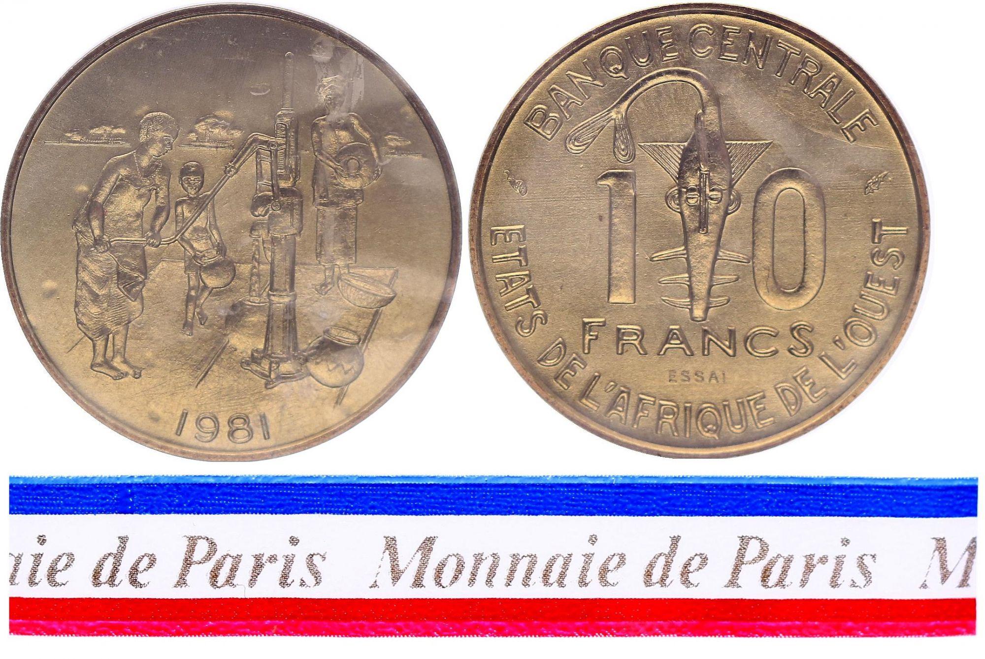 West AFrican States 10 Francs - 1981 - Test strike