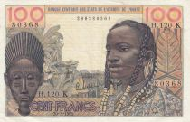 West AFrican States 100 Francs masque 1961 - K Senegal