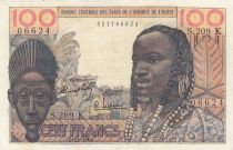 West AFrican States 100 Francs masque 1964 - K Sénégal