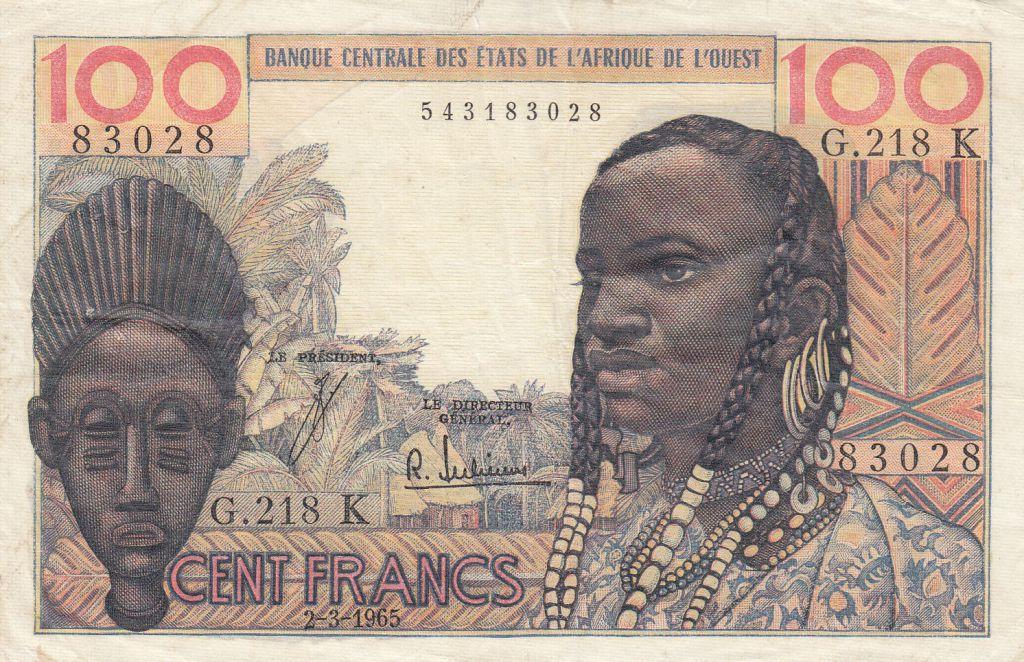 West AFrican States 100 Francs masque 1964 - K Sénégal