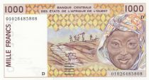 West AFrican States 1000 Francs Mali - Workmen hauling peanuts - Mask - 2001