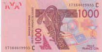 West AFrican States 1000 Francs Mask - Calmels - Burkina Faso 2017