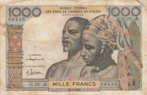 West AFrican States 1000 Francs river 1959 - Serial C.35