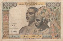 West AFrican States 1000 Francs river 1961 - Serial F.41