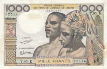 West AFrican States 1000 Francs river 1965 - Serial Y.93