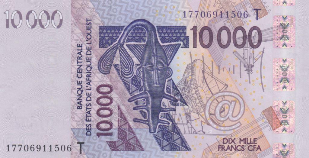 West AFrican States 10000 Francs Mask - Birds - Togo 2018