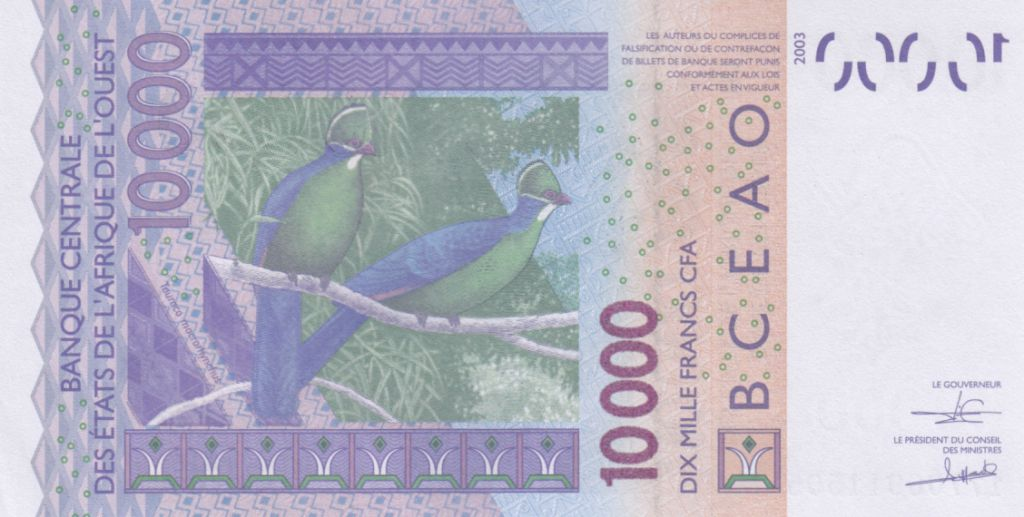 West AFrican States 10000 Francs Mask - Birds - Togo 2018