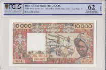 West AFrican States 10000 Francs Spinning - 1980 - Serial G.14  - PCGS 62 OPQ