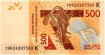 West AFrican States 500 Francs Mask - Hippopotamus - 2019 K Sénégal