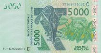 West AFrican States 5000 Francs Mask - Antelopes - Burkina Faso 2017
