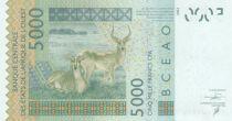 West AFrican States 5000 Francs Mask - Antelopes - Togo 2018