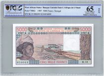 West AFrican States 5000 Francs Senegal - Woman, fish, boat - 1987 - PCGS UNC 65 OPQ