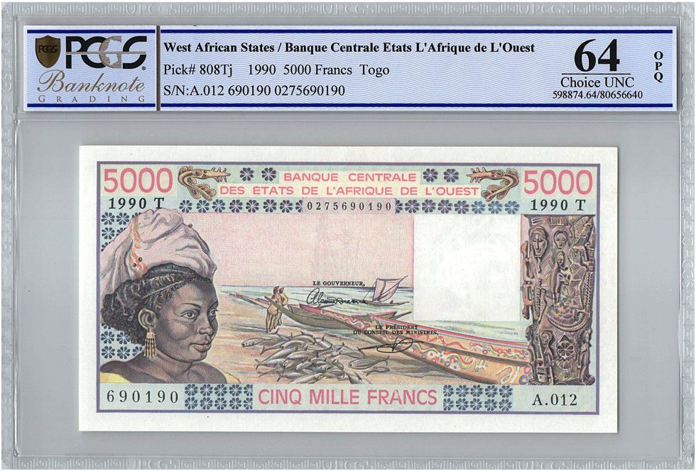 West AFrican States 5000 Francs Togo - Woman, fish, boat - 1990 - PCGS UNC 64 OPQ