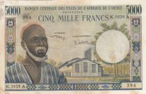 West AFrican States 5000 Francs vieil homme type 1964 - A Côte d\'ivoire