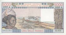 West AFrican States 5000 Francs Woman, fish, boat