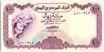 Yemen (Arab Republic) 100 Rials, Cherub and griffin - View of Ta\'izz - 1976 - P.16