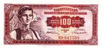 Yougoslavie 100 Dinara  - Jeune femme, Dubrovnik - 1955