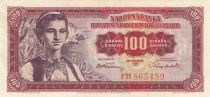 Yougoslavie 100 Dinara 1965 - Jeune femme, Dubrovnik