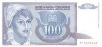 Yougoslavie 100 Dinara Jeune Femme - Blé